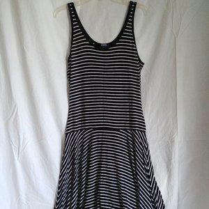 Chaps Fit & Flare Striped Tank Dress Black & White